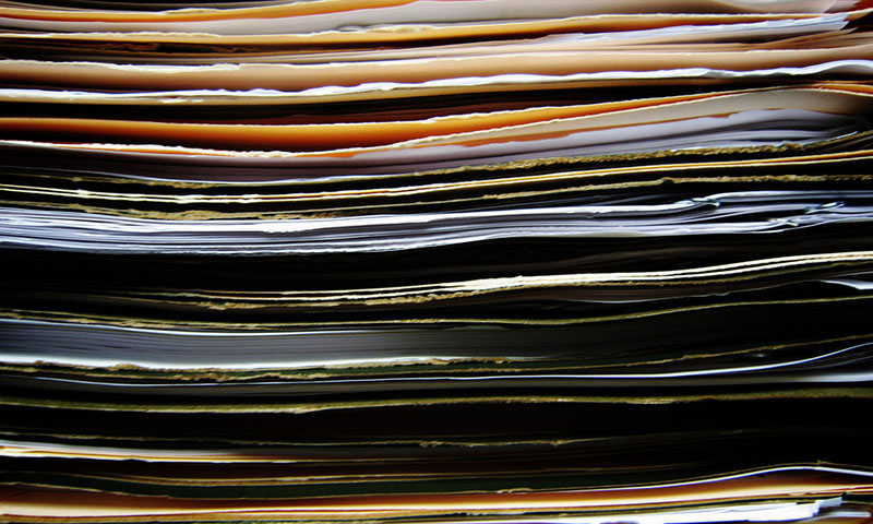 Stack of folders close-up