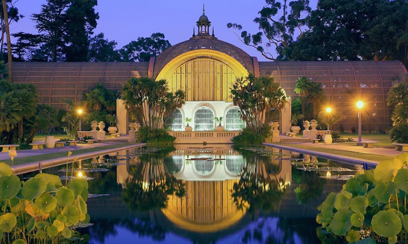 Night time view of Balboa Park