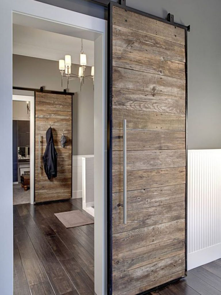 Rustic modern interior sliding door with new knobs