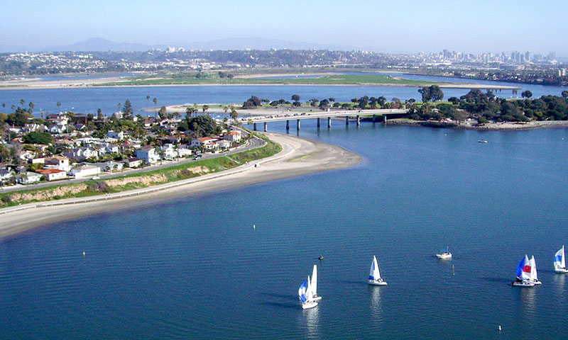 Arial view of San Diego near Mission Bay