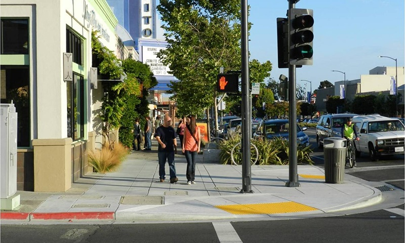 Walking the busy streets in El Cerrito, San Diego intersection
