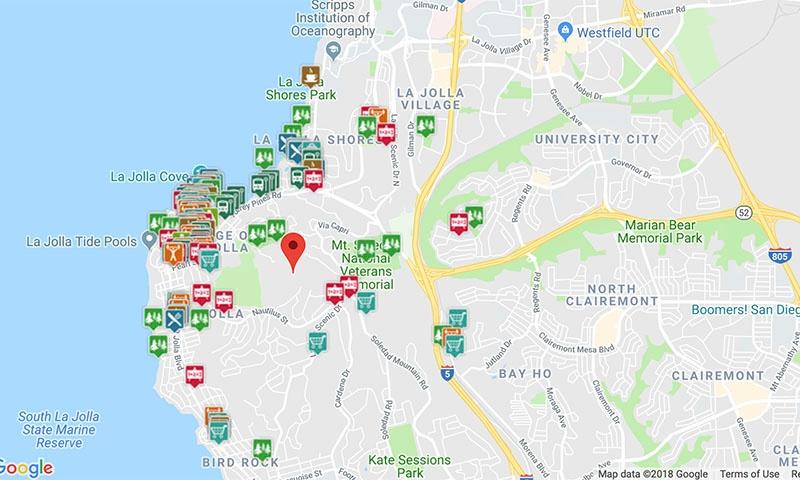 Map of Amenities in La Jolla