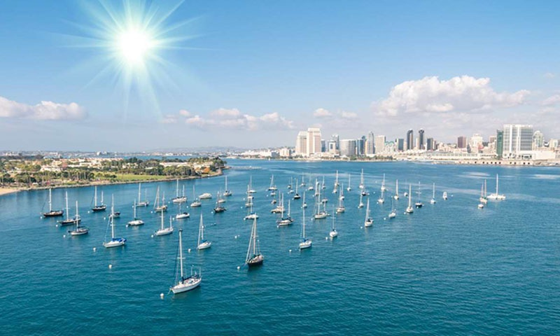 Arial View of Sunny San Diego and Boats
