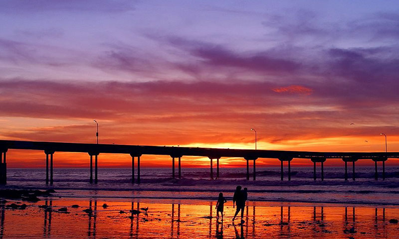 Family walking by the pier on Ocean Beach during sunset