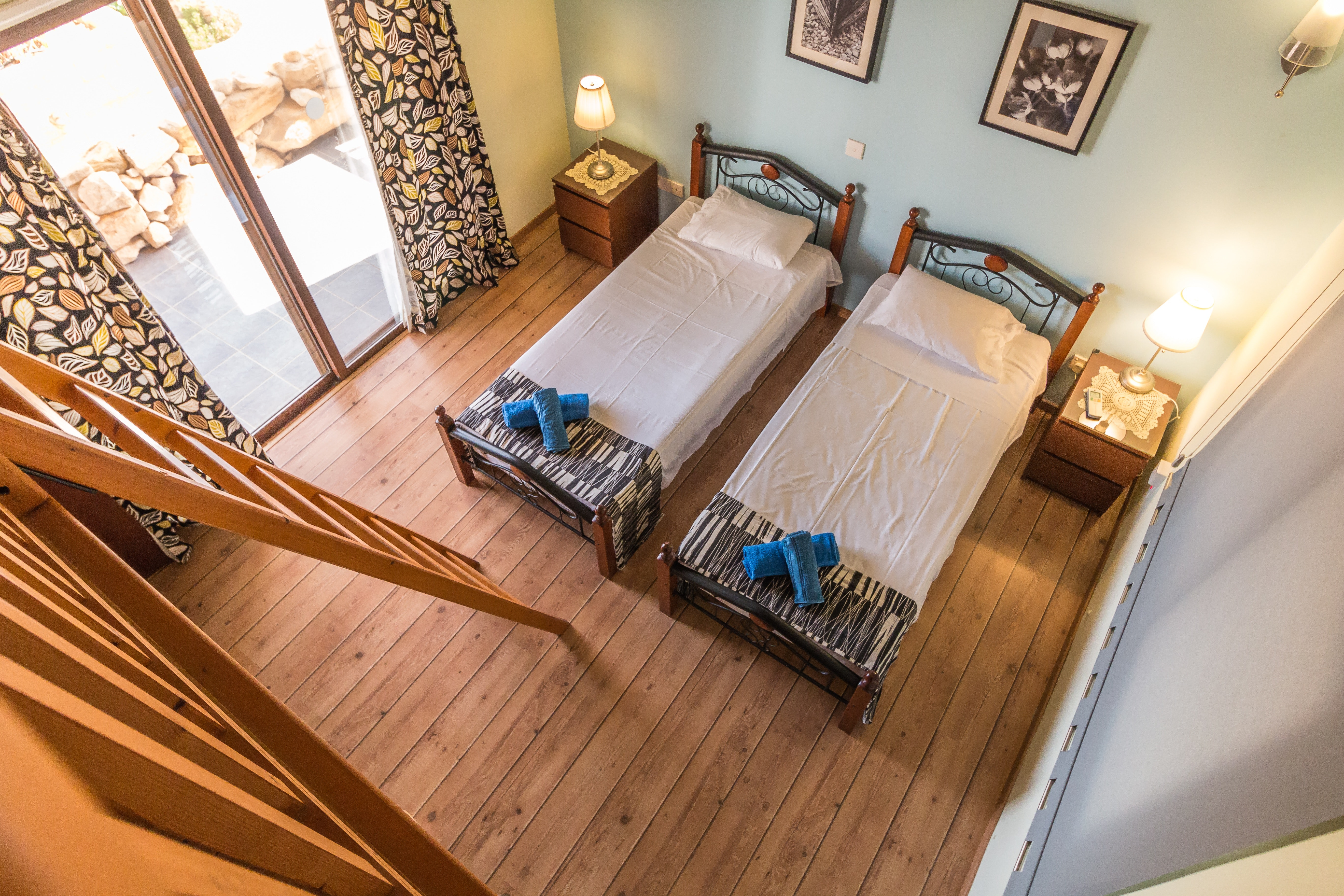 Bedroom interior with upgraded wood flooring