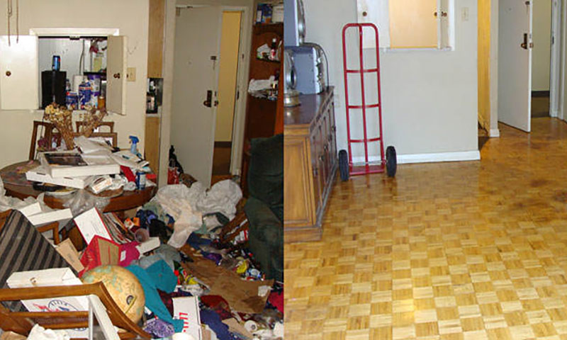 Before and After photo of a hoarders home