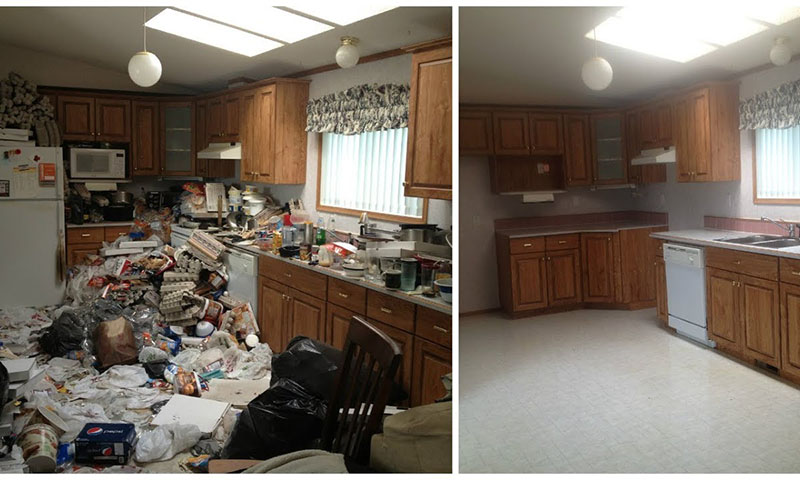 before and after kitchen hoarder home