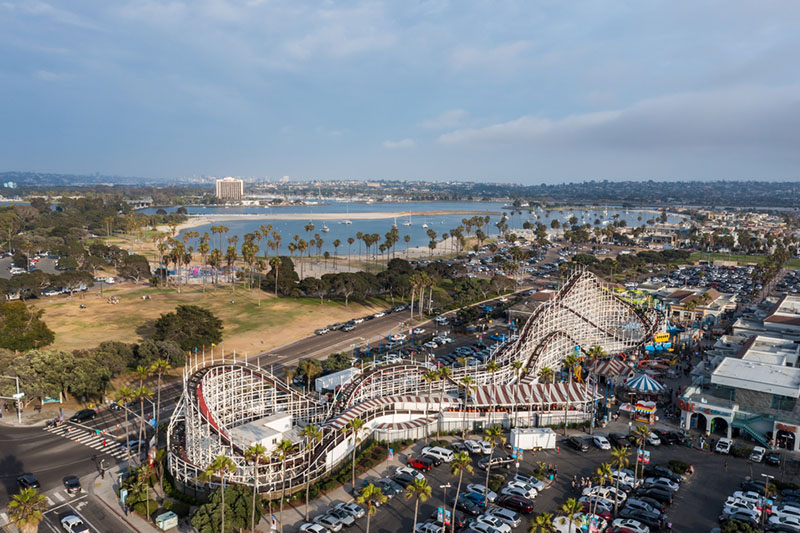mission beach belmont park arial drone view